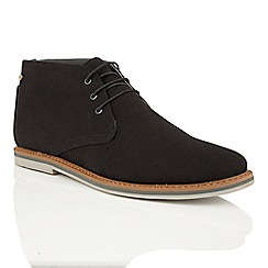 Frank Wright - Black Canvas 'Barrow' casual ankle boots