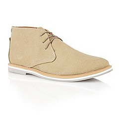 Frank Wright - Sand canvas 'Barrow' mens derby boots