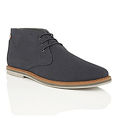 Frank Wright - Navy canvas 'Barrow' mens derby boots