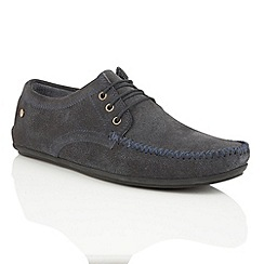 Frank Wright - Navy suede 'Barts' mens lace-up loafers