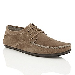 Frank Wright - Taupe suede 'Barts' mens lace-up loafers