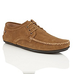 Frank Wright - Dark Tan suede 'Barts' mens lace-up loafers