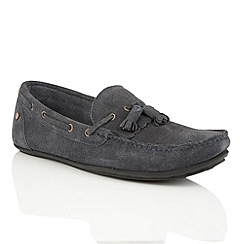 Frank Wright - Navy Suede 'Nevis' slip on loafers