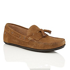 Frank Wright - Dark tan suede 'Nevis' mens loafers