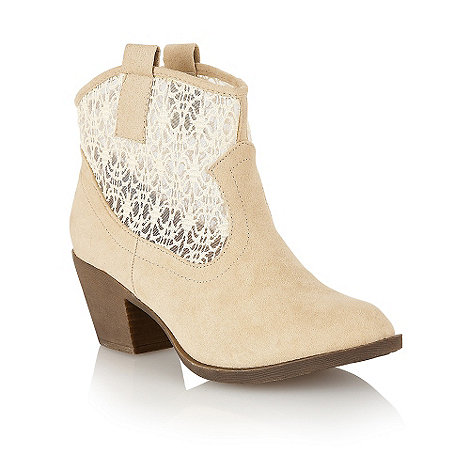 Dolcis - Cream mesh panel low heel ankle boots