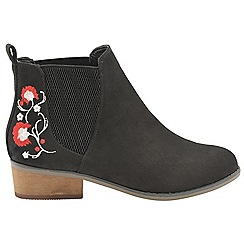 Dolcis - Black 'Jean' ladies slip on floral ankle boots