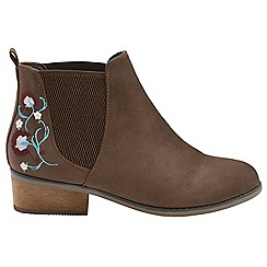 Dolcis - Brown 'Jean' ladies slip on floral ankle boots