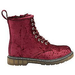 Dolcis - Burgundy 'Delilah' lace up ladies ankle boots