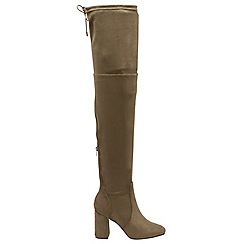 Dolcis - Khaki 'Elana' over the knee block heeled boots