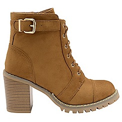 Dolcis - Tan 'Maude' ladies lace up high heel ankle boots