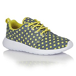 Dolcis - Blue/yellow 'Trieste' ladies lace-up trainers