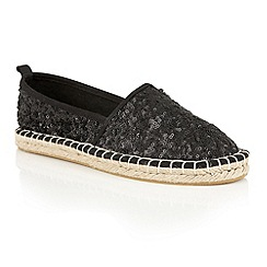 Dolcis - Black 'Batice' slip-on sequined espadrilles