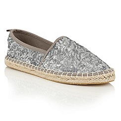 Dolcis - Pewter 'Batice' slip-on sequined espadrilles