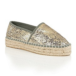 Dolcis - Grey 'Belva' metallic slip-on espadrilles