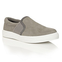Dolcis - Grey 'Abby' slip-on elasticated plimsolls