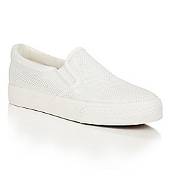 Dolcis - White 'Riva' slip-on elasticated plimsolls