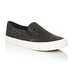 Dolcis - Black 'Millie' glitter slip on flat plimsolls