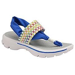Dolcis - White/Blue 'Reese' ladies slip on sandals