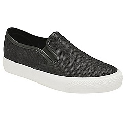 Dolcis - Black 'Harley' ladies slip on plimsolls