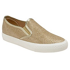 Dolcis - Gold 'Harley' ladies slip on plimsolls