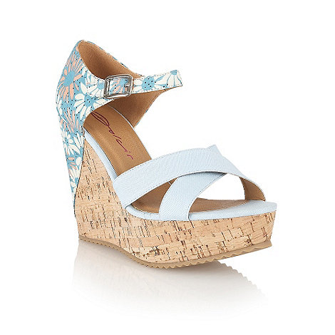 Dolcis - Blue floral detail cork wedges