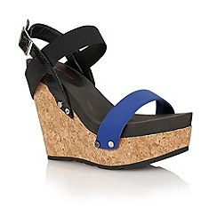 Dolcis - Blue/black 'Porto' ladies wedge sandals