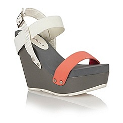 Dolcis - Coral/white 'Porto' ladies wedge sandals