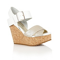 Dolcis - Silver/white 'Nottingham' ladies wedge sandals