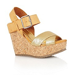 Dolcis - Gold/tan 'Nottingham' ladies wedge sandals