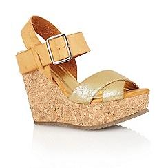 Dolcis - Gold/tan 'Nottingham' ladies wedge sandals