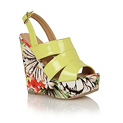 Dolcis - Yellow 'Las Palmas' wedge sling-back sandals