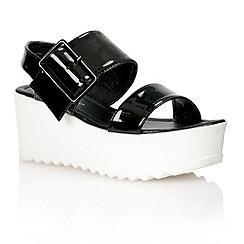 Dolcis - Black 'Bratislava' ladies flatform sandals