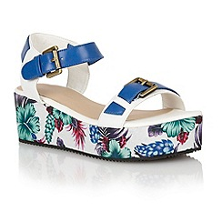 Dolcis - Cobalt/white 'Ibiza' ladies flatform sandals
