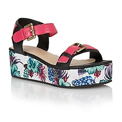 Dolcis - Raspberry/black 'Ibiza' ladies flatform sandals