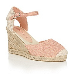 Dolcis - Pink 'Sommer' espadrille ankle strap wedges