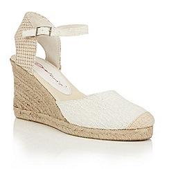 Dolcis - White 'Sommer' espadrille ankle strap wedges