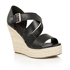 Dolcis - Black 'Heidi' slip-on high wedged sandals