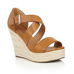 Dolcis - Tan 'Heidi' slip-on high wedged sandals