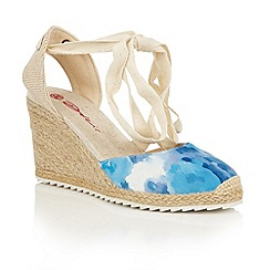 Dolcis - Blue 'Happy' high strappy espadrille wedges