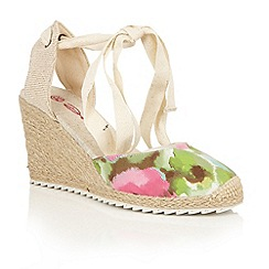 Dolcis - Green 'Happy' high strappy espadrille wedges