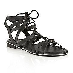 Dolcis - Black 'Wyomie' flat gladiator strappy sandals