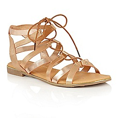 Dolcis - Rose Gold 'Wyomie' flat gladiator strappy sandals