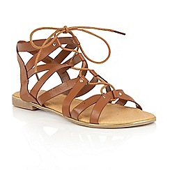 Dolcis - Tan 'Wyomie' flat gladiator strappy sandals