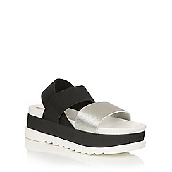Dolcis - Silver Black 'Zara' slip-on flatform sandals