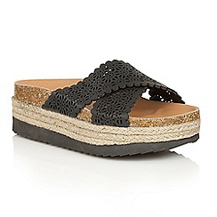 Dolcis - Black 'Bahama' slip-on flatform sandals