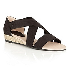 Dolcis - Black 'Valencia' midi wedged strappy sandals