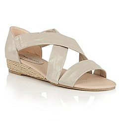 Dolcis - Gold 'Valencia' midi wedged strappy sandals