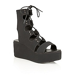 Dolcis - Black 'Voletta' strappy wedge cut out sandals