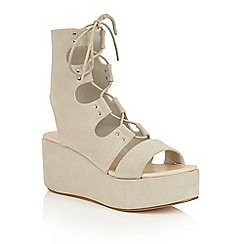 Dolcis - Grey 'Voletta' strappy wedge cut out sandals