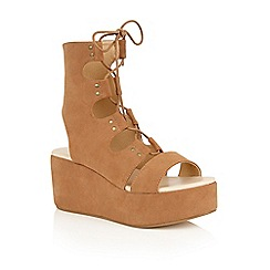 Dolcis - Tan 'Voletta' strappy wedge cut out sandals